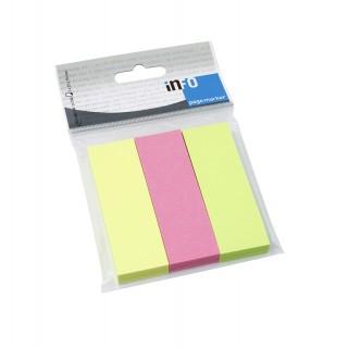 INFO NOTES Pagemarker 2,5 x 7,5 cm  3 Stück à 100 Blatt mehrere Farben