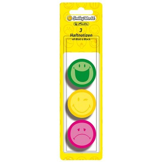 HERLITZ Haftnotizen SmileyWorld rund 3 Stück mehrere Farben