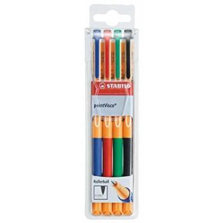 STABILO Tintenroller pointVisco 1099 0,5 mm im Etui 4 Stück mehrere Farben