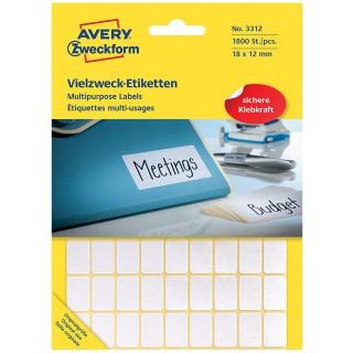AVERY ZWECKFORM Vielzweck-Etiketten 3312 1800 Stück 18 x 12 mm weiß