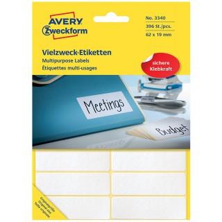 AVERY ZWECKFORM Vielzweck-Etiketten 3340 392 Stück 62 x 19 mm weiß