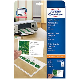 AVERY ZWECKFORM Visitenkarte 250 Stück 200 g 85 x 54 mm mattweiß