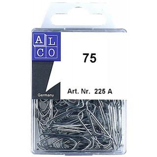 ALCO Büroklammern 3,2 cm eckig verzinkt 75 Stück silber