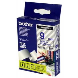 BROTHER Schriftbandkassette P-Touch TZ-123 9 mm x 8 m blau auf transparent