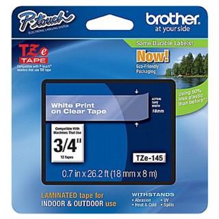BROTHER Schriftbandkassette P-Touch TZ-145 18 mm x 8 m weiß auf transparent