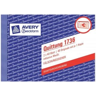 AVERY ZWECKFORM Quittung 1736 A6 2 x 40 Blatt