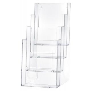 HELIT Tischprospekthalter H2352002 Helpdesk 4 Fächer 1/3 A4 transparent