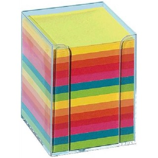 FOLIA Zettelbox 9,5 x 9,5 cm befüllt bunt