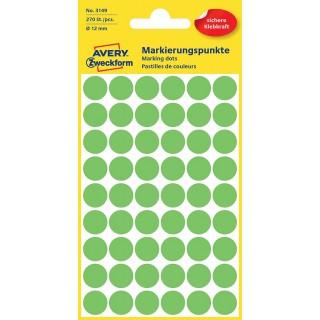 AVERY ZWECKFORM Markierungspunkt 3149 12 mm 270 Stück grün