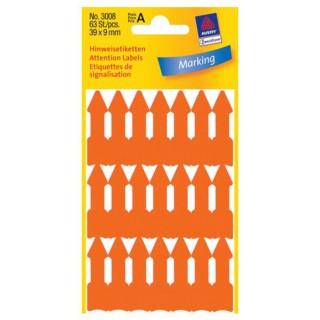 AVERY ZWECKFORM Hinweis-Etikett 3008 Pfeil 63 Stück 39 x 9 mm orange