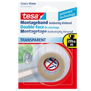 TESA Montageband Powerbond 55743 19 mm x 1,5 m transparent