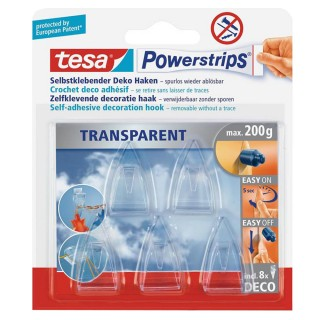 TESA Powerstrips Haken Deco small 5 Stück transparent