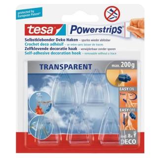 TESA Powerstrips Haken Deco small 5 Stück transparent