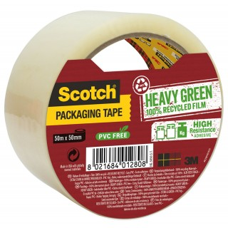 SCOTCH Verpackungsklebeband Heavy Green 1 Rolle 50mm x 50m transparent