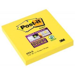 POST-IT Haftnotiz 654 76 x 76 mm Super Sticky 6 Stück gelb