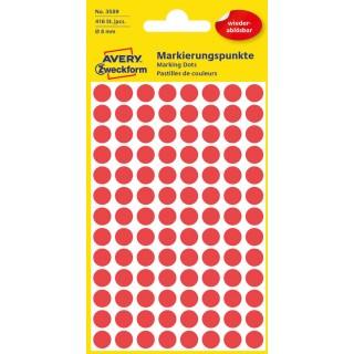 AVERY ZWECKFORM Markierungspunkte 3589 Ø 8 mm ablösbar 416 Stück rot