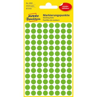 AVERY ZWECKFORM Markierungspunkte 3592 Ø 8 mm ablösbar 416 Stück grün
