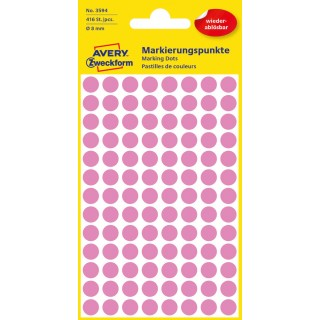 AVERY ZWECKFORM Markierungspunkte 3594 Ø 8 mm ablösbar 416 Stück pink