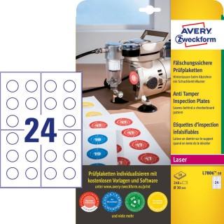 AVERY ZWECKFORM Prüfplakette L7806-10 Ø 30 mm permanent mehrere Farben