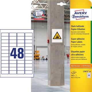 AVERY ZWECKFORM Papieretiketten L7873-20 960 Stück stark haftend 45,7 x 21,2 mm weiß