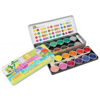 JOLLY Deckfarbkasten 24 Farben 2 Pinsel Deckweiß