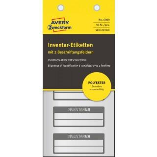 AVERY ZWECKFORM Inventar-Etiketten 6909 50 Stück mit 2 Feldern schwarz