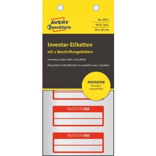 AVERY ZWECKFORM Inventar-Etiketten 6911 50 Stück mit 2 Feldern rot
