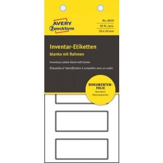 AVERY ZWECKFORM Inventar-Etiketten 6919 50 Stück fälschungssicher schwarz