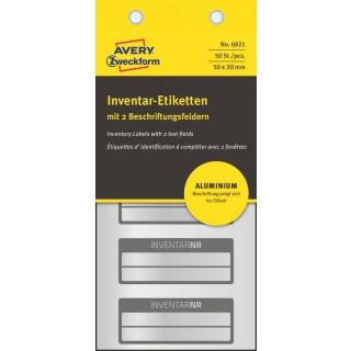 AVERY ZWECKFORM Inventar-Etiketten 6921 50 Stück Aluminium 50 x 20 mm schwarz