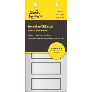 AVERY ZWECKFORM Inventar-Etiketten 6922 50 Stück Aluminium 50 x 20 mm schwarz