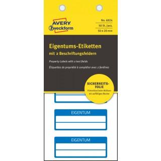 AVERY ZWECKFORM Eigentums-Etiketten 6924 50 Stück 50 x 20 mm blau