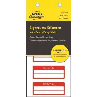 AVERY ZWECKFORM Eigentums-Etiketten 6925 50 Stück 50 x 20 mm rot