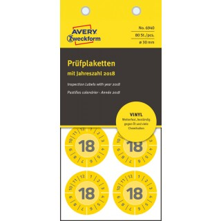 AVERY ZWECKFORM Prüfplaketten 6940 mit Jahreszahl 2018 80 Etiketten Ø 30 mm gelb