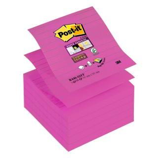 POST-IT® Haftnotizen Super Sticky Z-Notes R440 5 Blöcke à 90 Blatt liniert 101 x 101 mm pink