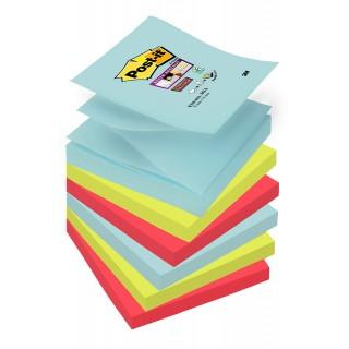 POST-IT® Haftnotizen Super Sticky Z-Notes R3306SMI 6 Blöcke à 90 Blatt 76 x 76 mm farbig sortiert