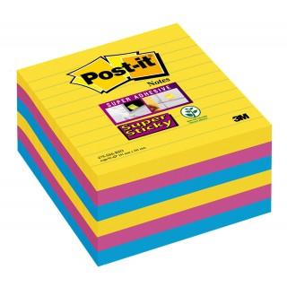 POST-IT® Haftnotizen Super Sticky 675-S6R 6 Blöcke à 90 Blatt liniert 101 x 101 mm farbig sortiert