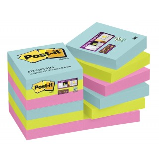 POST-IT®  Haftnotizen Super Sticky 62212SMI 12 Blöcke à 90 Blatt 48 x 48 mm farbig sortiert