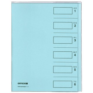 OFFICIO Ordnungsmappe 536 A4 6-teilig mit Umschlag hellblau