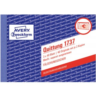 AVERY ZWECKFORM Quittung 1737 DIN A6 quer 3x40 Blatt selbstdurchschreibend