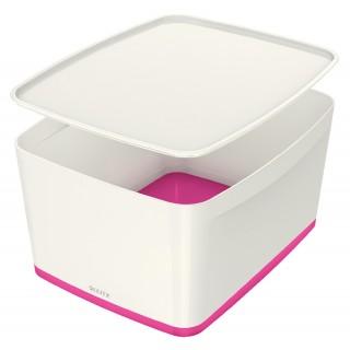 LEITZ Aufbewahrungsbox MyBox 5216 18 Liter weiß/pink metallic
