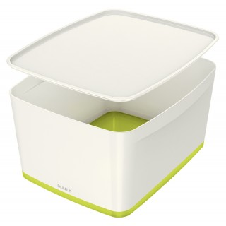 LEITZ Aufbewahrungsbox MyBox 5216 18 Liter weiß/grün metallic