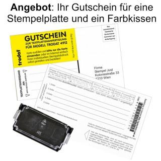 TRODAT Gutschein für Stempelplatte und Stempelkissen für Modell 4910