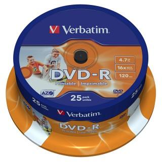 VERBATIM DVD-R 25 Stück auf einer Spindel 4,7 GB 16-fach