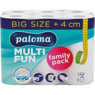 PALOMA Küchenrolle Multi Fun 6 Rollen 3-lagig weiß
