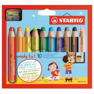 STABILO Buntstifte 880 Woody 10 Stück im Etui mehrere Farben