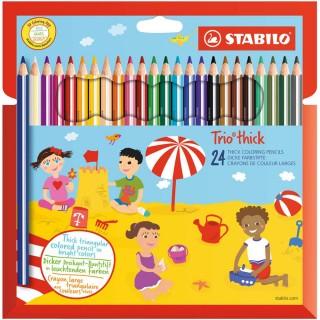 STABILO Buntstifte 203 Trio dick 24 Stück mehrere Farben