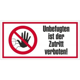 JUST Hinweisschild Zutritt verboten 250 x 125 mm PP