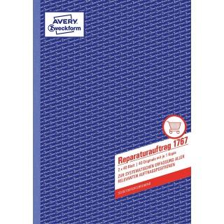 AVERY ZWECKFORM Reparaturauftrag 1767 DIN A4 2x40 Blatt selbstdurchschreibend weiß/gelb