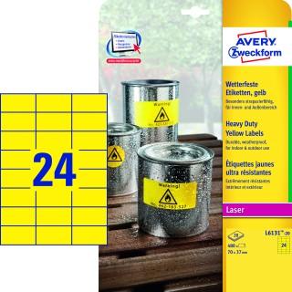 AVERY ZWECKFORM Wetterfeste Etiketten L6131-20 480 Stück 70 x 37 mm gelb