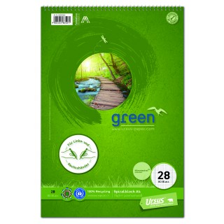URSUS Green Spiralblock A4 80 Blatt kariert 5mm